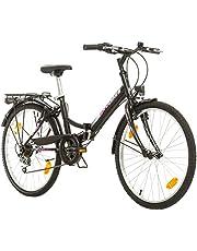 Multibrand Distribution Probike Folding City 24 inch vouwfiets 6 versnellingen voor dames, meisjes geschikt van 135-155 cm