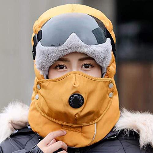XYSQWZ Unisex Winter Bomber Hüte Aviator Pilot Cap Adult Men Winter Trapper Jagdhut Mit Abnehmbarem Und Brille Einheitsgröße