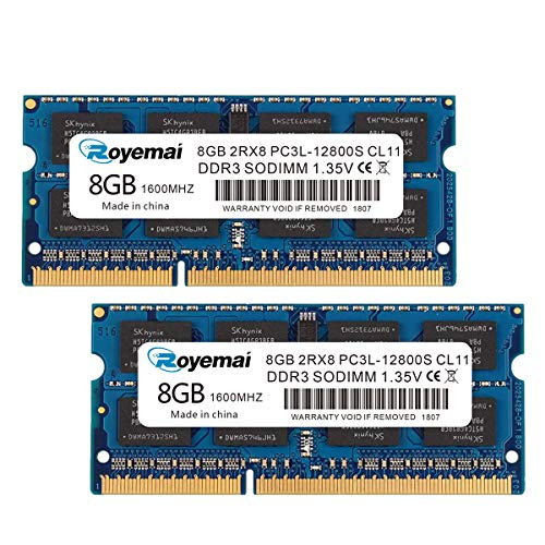 ROYEMAI DDR3 1600 16GBKit (2X8GB) PC3L-12800S 2Rx8 1.35V CL11 Notebook 8GB RAM Memory for Early/Mid/Late 2011, Mid/Late 2012, Early/Late 2013, Late 2014, Mid 2015 MacBook Pro, iMac, Mac Mini