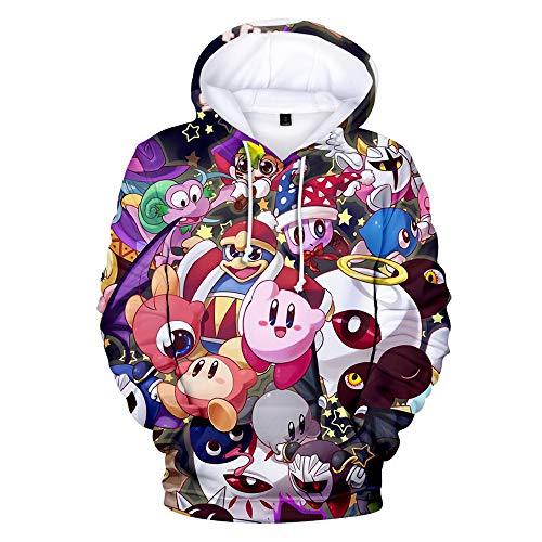 LJ123 Star-Kirby Hoodie Schöne Kapuzenpulli Pullover Druck Hoodie Casual Sweatshirt Tops Spiele Cosplay Kostüm für Frauen Männer