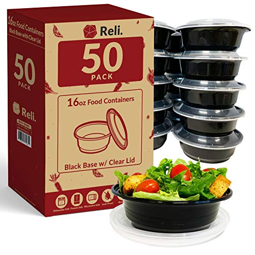 Reli Meal Prep Container Bowls 16 oz 50 Pack  Reusable 16 oz Meal Prep Bowls/Food Containers  Microwavable Bowls with Lids Black Food Storage Containers Black