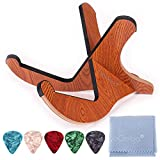 QoQoba Portable Wood Guitar Stand w/Scratch-Proof Edges | Wooden Acoustic Guitar Stand | Collapsible Foldable Electric Guitar Stand Floor | Guitar Picks (5pcs)| Microfiber Guitar Cleaning Kit (LARGE)