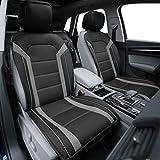xb scion emblem - FH Group PU208GRAYBLACK102 Gray/Black Leatherette Car Seat Cushions Airbag Compatible