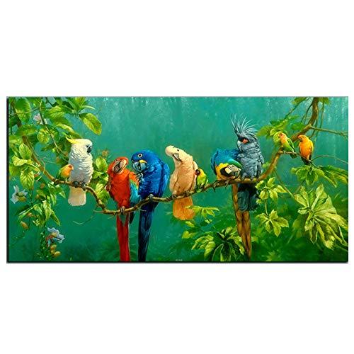 Pintura al Óleo de los Loros en el Paisaje de Ramas Impresión Lienzo Pintura Decorativa para sala de Estar, Decoración de la Pared del Hogar del Dormitorio,40 * 80cm