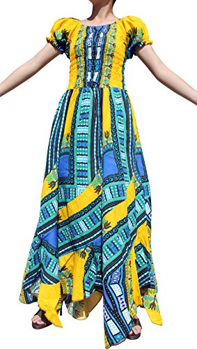 RaanPahMuang Africa Dashiki Colors Baby Doll Full Wild Smock Waist Ladies Dress