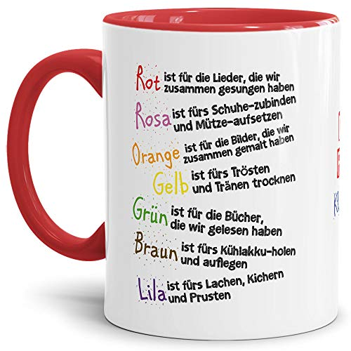 Tassendruck Geschenk Tasse für Kinder mit Spruch zum Kitaabschied - Danke für die Kitazeit - Abschied Kita/Geschenkidee Erzieherin Schulkind/Erinnerung - Innen & Henkel Rot