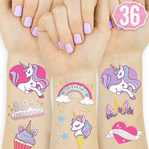 xo, Fetti Unicorn Party Supplies Temporary Tattoos for Kids - 36 Glitter Styles | Unicorn Party Favors and Birthday Decorations + Halloween Costume