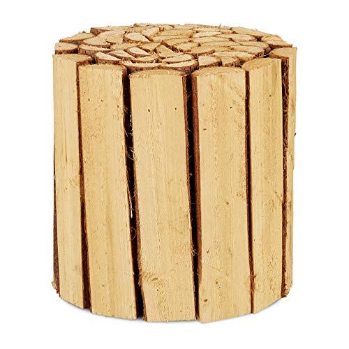 Relaxdays - Taburete redondo de madera natural para macetas, macetero, soporte para flores, 20,5 x 20 cm, color natural