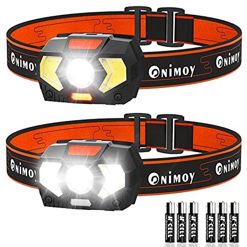 Linterna Frontal [Una llave apagada], Onimoy Linterna Cabeza XPE Destacar + COB Luz de Inundación, Luz Frontal Cabeza para los niños, Ligero Impermeable para Correr Acampar, 6 Pilas AAA Incluidas