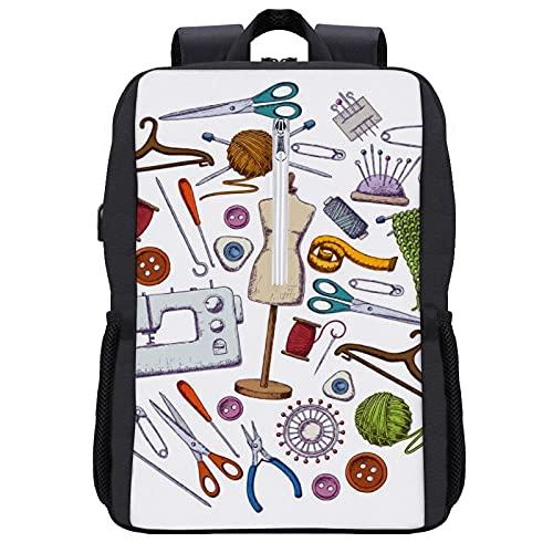 Zaino per computer portatile, 15.6 pollici grande borsa per computer portatile con porta USB, donne uomini di affari viaggio blu foglia di tè viola acquerello texture, Nero-stile 7, Taglia unica