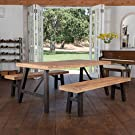 Christopher Knight Home Cottage Acacia Wood Dining Set, Brushed Grey #1