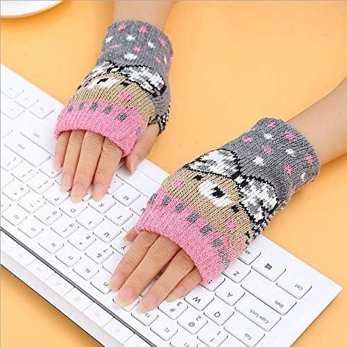 1Pair Spring Women Warmer Women Gloves Winter Fingerless Knit Mittens Button Gloves 2017 New - (Color: 5, Gloves Size: One Size)