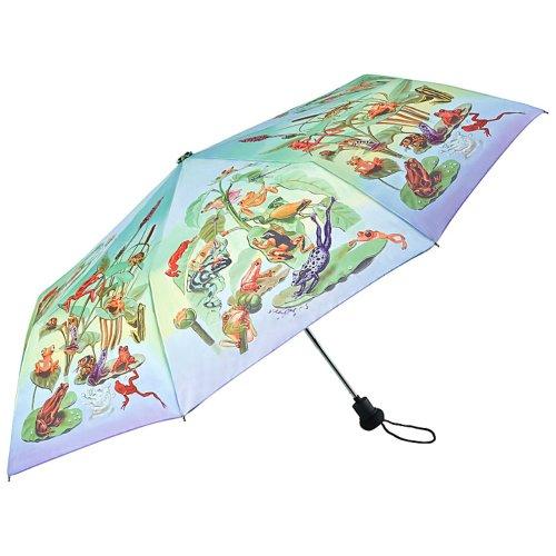 VON LILIENFELD Regenschirm Taschenschirm Stabil Leicht Auf-Automatik Damen Motiv Froschfamilie