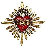 Sagrado corazón con corona de espinas, artesanía mexicana, metal, para colgar, 25 x 24 cm