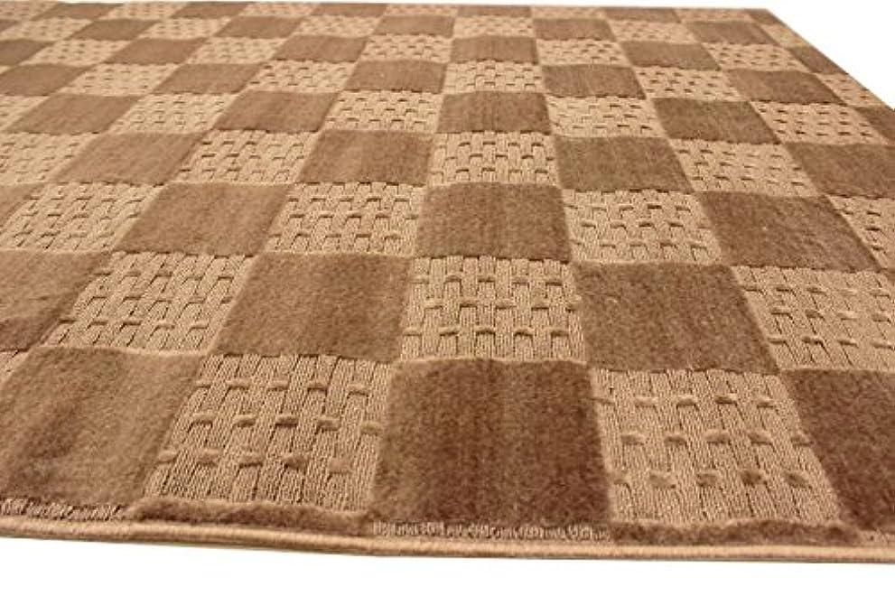 休日時間画面カーペット 4.5畳 日本製じゅうたん 絨毯 ビスタ サイズ261x261cm ブラウン色