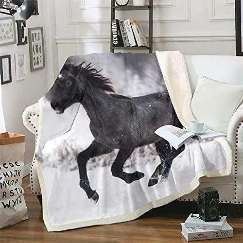 Loussiesd Manta sherpa de caballo para niños Galoping Islandés caballo manta de forro polar 3D Animal salvaje manta difusa microfibra negro felpa decoración habitación bebé 30x40 pulgadas