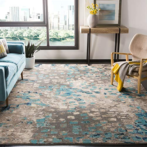 Safavieh Monaco Collection MNC225E Boho Chic Abstract Watercolor Non-Shedding Stain Resistant Living Room Bedroom Area Rug, 5'1' x 7'7', Grey / Light Blue