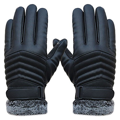 Men's Winter Gloves, Jushye Anti Slip Men Thermal Winter Sports Leather Touch Screen Glove;Ship it from US wearhouse