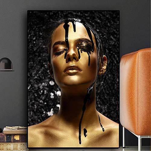 BGFDV Manchas de Tinta Mujer nórdica Oro Negro Hermoso Arte Africano Hermosa Mujer Pintura al óleo sobre Lienzo póster impresión Arte Imagen en la Pared Decorar la Sala de Estar