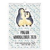 Mr. & Mrs. Panda Jahreskalender, Kalender, A4 Wandkalender 2020 Pinguin Collection mit Spruch - Farbe