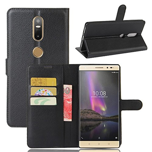 Ycloud Tasche für Lenovo Phab 2 Plus Hülle, PU Ledertasche Flip Cover Wallet Hülle Handyhülle mit Stand Function Credit Card Slots Bookstyle Purse Design schwarz