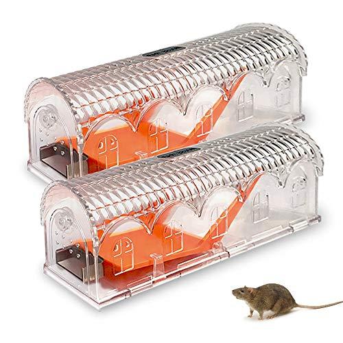 Lightone Mausefalle Lebend 2er Set, Rattenfalle in Transparent Umweltschutz und Wiederverwendbar Mausefalle für Innen, Außen, Küche, Garten Kastenfalle
