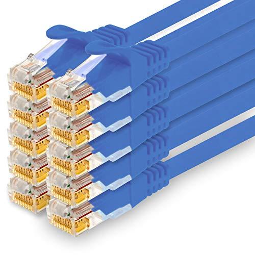 1CONN - Cable de red de 7,5 m, Ethernet, LAN y cable de conexión para una máxima velocidad de Internet y conecta todos los dispositivos con conector RJ 45 hembra azul - 10 unidades