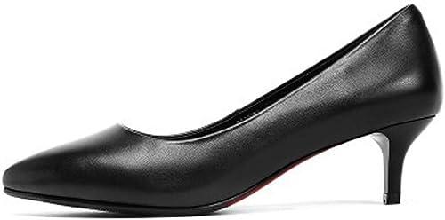 YongBe Trabajo de Oficina para damenes Sandalias Negras de tacón de Aguja Vestido de Noche Formal schuhe de Corte Novia Dama de Honor braun Punta Estrecha Tacones Altos, 5cm-37