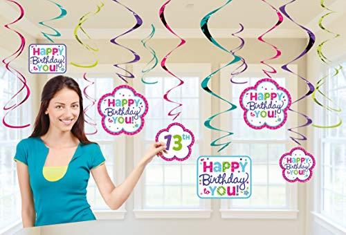 amscan 670431 Deko-Spiralen Set Birthday Personalisierbar, Pink & Türkis, Amerikanische Größe