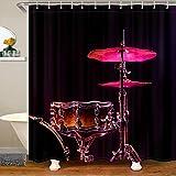 Kit de cortina de ducha para baño con diseño de música de roca, cortina de ducha para niños y niñas, cortina de baño musical moderna decoración de habitación 180 x 210 cm
