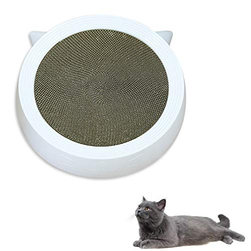 MAFANG® Rascador para Gatos, 2 En 1, Almohadilla Rascador para Gatos Y Salones, Duradero En Ambos Lados, Cartón Disponible con Catnip para Gatos Arañar Y Relajarse,White XL
