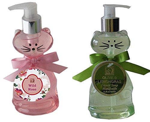 Salsacollection Duo 2 x 240 ml Handseife Flüssigseife im Seifenspender Katze in Rosa und Grün