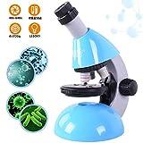 顕微鏡 子供用 40x-640x 科学 学習 小学生 キッズ ジュニア 初心者向け LEDライト ツールセット プレパラート25点 日本語説明書付き ブルー