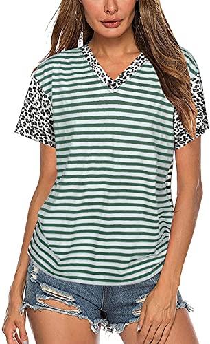 SLYZ Camiseta De Rayas con Estampado De Leopardo De Verano para Mujer, Camiseta De Manga Corta Raglán Informal con Costura De Color A Juego Superior