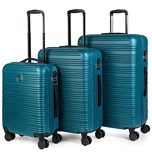 ITACA - Juego Maletas de Viaje Rígidas 4 Ruedas Trolley 55/65/75 cm ABS. Duras Cómodas y Ligeras. Candado. Pequeña Cabina Ryanair Mediana y Grande T72100, Color Verde Oscuro