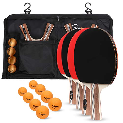 Ping PongTable Tennis paddle set of 4 with 8 Professional Balls|Ping Pong Holder Carry Case with Hooks and Zipper|for Indoor and Outdoor