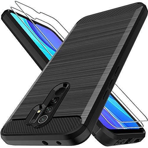 LK Hülle für Xiaomi Redmi 9,[Anti Fingerabdruck] Flexibel Weich TPU Slim Gebürsteter Hülle Cover mit Panzerglas Folie[2 Stück] für Xiaomi Redmi 9 - Schwarz