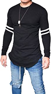 Men's Long Sleeve T-Shirts Patchwork Slim Fit T-Shirt Bodybuilding Muscle Fitness Tee Tops