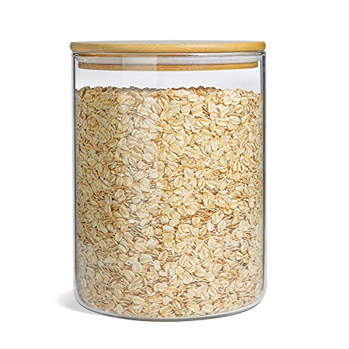 ComSaf Glass Jar with Airtight Lid (101FL OZ/3 Liter), Large Glass Food Storage Container with Bamboo Lid, Clear Glass…