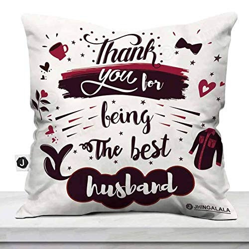 Jhingalala Satin Cushion Cover with Filler, Thank You for Being The Best Husband Printed Gift Pack for Husband for Birthday, Anniversary and Valentine's Day, Multicolour, 12x12 inch