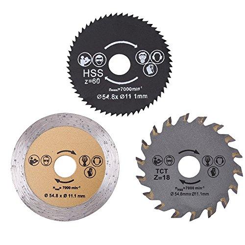 3 piezas 54,8 mm HSS Mini hoja de sierra circular Kit de disco de corte herramienta rotativa con mandril