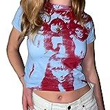 Estate Y2K Crop Top Sexy Estetica Donne Stampa Grafica Camicia Manica Corta 90s E Ragazze Streetwear Partito Canotte Azzurro e rosso. M