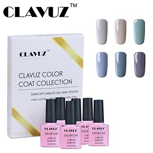 Vernis à Ongles Semi-Permanent Vernis Gris, 6pcs Kit Manucure,Nail Art 10ml Gift Set de Clavuz-set009
