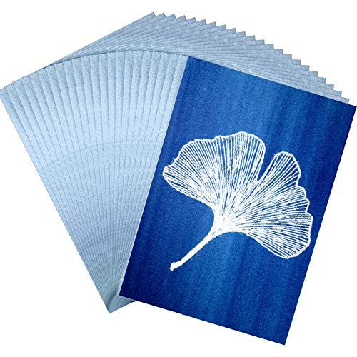 25 Blätter A4 Cyanotypie Papier Papier Natur Drucken Papier Solaraktiviert Druckpapier für Sonne Kunst (Weiß)