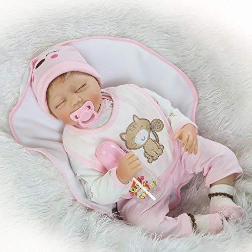 FACAIA Muñeca Rebirth, Juguetes para niños 22 'Hecho a Mano de Vinilo de Silicona Suave muñecas recién Nacidas de Apariencia Real muñeca renacida Realista sin imán Chupete