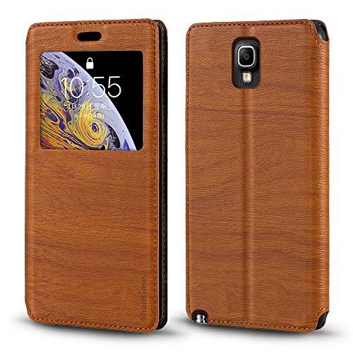 Schutzhülle für Samsung Galaxy Note 3 Neo LTE+ N7505, luxuriös, Holzmaserung, Leder, Kartenfach, Sichtfenster, braun