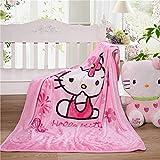Amacigana Rosa niedliche Cartoon-Musterdecke Hello Kitty-Druck, weiche Hülle, Flanell, niedliche Plüsch-Polarvliesdecke (Hello Kitty 01,150cm x 200cm)