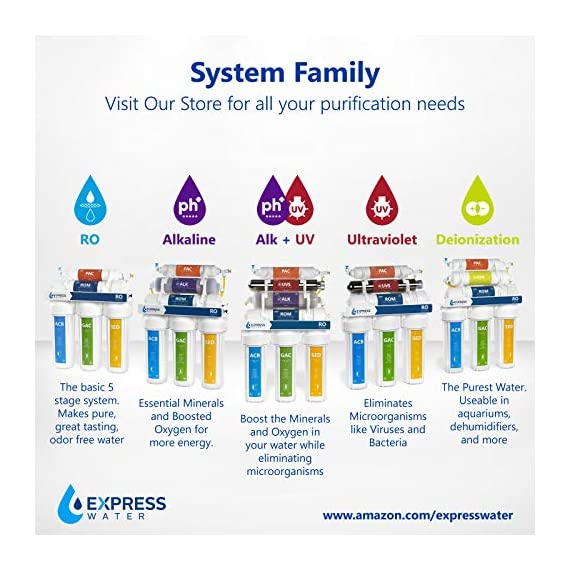 Express Water RO5DX Reverse Osmosis Filtration NSF Certified 5 Stage RO System with Faucet and Tank – Under Sink Water… 7 Reverse Osmosis Water Filter: Experience what water should taste like with the Express Water reverse osmosis water filtration system removing up to 99.99% of Lead, Chlorine, Fluoride, Nitrates, Calcium, Arsenic, and more. Water Purification System: Drink the healthiest water on Earth. All our water filters are specially engineered to work together, producing the safest and best tasting water you'll ever drink Under Sink Water Filter: Don't waste money on professional installation. Express Water's quick and easy-to-understand design means you can install and understand everything about your new water filtration system