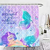 Wencal Mermaid Shower Curtain Tail Scales Girls Bathroom Decor with Hooks 72 x 72 Inches