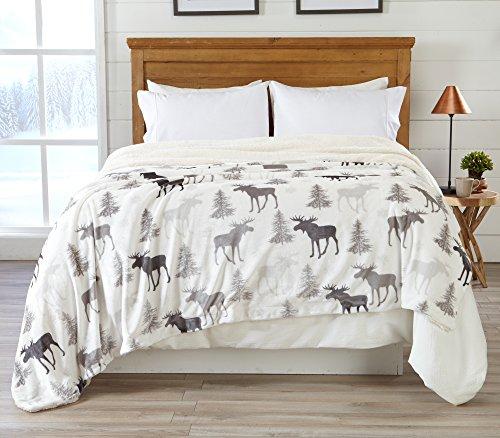 Home Fashion Designs Premium Reversible Sherpa and Fleece Velvet Plush Blanket. Fuzzy, Soft, Warm Berber Fleece Bed Blanket Brand. (Full/Queen, Moose)